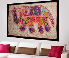 HANDMADE ELEPHANT BOHEMIAN PATCHWORK WALL HANGING EMBROIDERED TAPESTRY INDIA X46