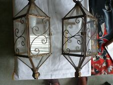 Vintage Pair Of Brass Electric French Style Porch Lanterns / Lights 46cm x 18cm