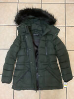 NWT Women's Guess  Puffer Coat Olive Green Black Faux Fur Hood Size M