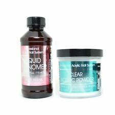 Mia Secret Professional Liquid Monomer 4 oz + Clear Acrylic Powder 4 oz Nail Sys
