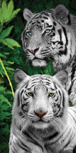 "White Tiger Jungle Tigers Beach Bath Towel 30"" x 60"" Wild Animals Velour"
