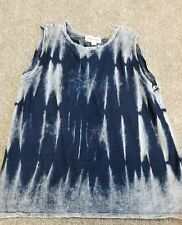 Women's Cloth and Stone Blue Tie Dye Open back Tank Small