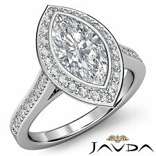 Marquise Diamond Engagement Bezel Set Halo Ring GIA I SI1 14k White Gold 1.52 ct