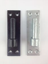 More details for 2x heavy duty gate hinge brackets - 12mm pin wrought iron - hooks on plate