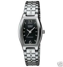 Casio Women's Silvertone Bracelet Watch, Black Dial, LTP1254D-1A