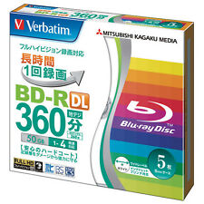 5 Verbatim Bluray DVD Video 50GB Dual Layer 4x Printable Bluray Blank Media