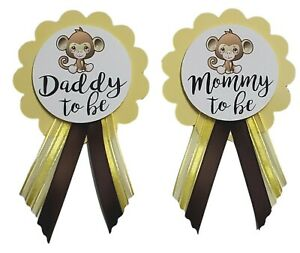 Baby Shower Pin for Mommy or Daddy to Be Monkey Gender Reveal Grandma Jungle