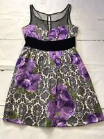 Plenty by Tracy Reese •12• Purple Floral Print Dress 100% Silk Sheer Mesh Bodice