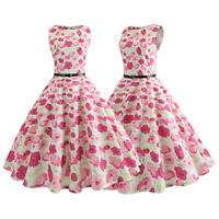 Womens Retro Vintage 50s Floral Swing Summer Sleeveless Rockabilly Party Dress