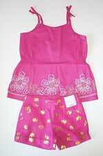 NWT Gymboree pink floral stitched top & gold elephant shorts girls outfit size 7