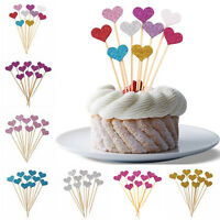 10X Birthday Cupcake Toppers Love Heart Party Decor Shower Baby Wedding Cak J7C9