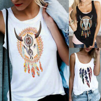 Womens Blouse Shirt Loose Pullover Casual Holiday Ladies Cami Vest Feather Tops