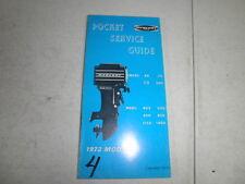 Vintage mercury outboard motor pocket service guide 1972 40 75 110 200 402 500