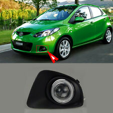 Full Fog Light Kit Black Cover COB Angel Rings Projector Lens for Mazda 2 2011