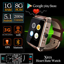 Sport 3G Wifi Bluetooth GPS Smart Watch Heart Rate Android 5.1 Phone 8GB X01S