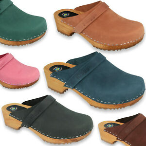 KLOGGA QUALITY CLASSIC WOODEN CLOGS Swedish design Nubuck Leather Womens Mens
