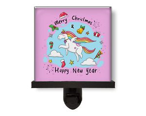 Merry Christmas Unicorn Happy New Year's Pink Glass Photo Night Light