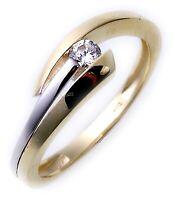 Ring Gold 333 Zirkonia theilrhodiniert Damenring 8 Karat bicolor Gelbgold