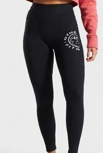 Gymshark Legacy Fitness 7/8 Leggings Black / White Stretch XS Elastic Waist