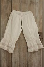 Antique French off- white cotton bloomers with lace lovely lace bottom edge