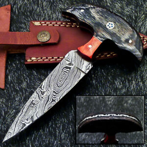 """Authentic HAND FORGED DAMASCUS 6.5"""" DAGGER KNIFE - HARD WOOD HANDLE- WD-9348"""