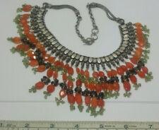 Carnelian Garnet Gemstone Bib Necklace. Vintage India Tribal Sterling Silver &