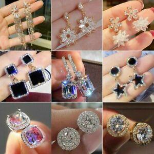 Elegant Women Cubic Zircon Dangle Earrings Crystal CZ Drop Earrings Jewelry Gift