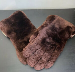 Vintage Real Fur And Leather Lined Winter Gloves