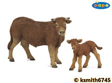 Papo LIMOUSIN COW & CALF solid plastic toy farm pet brown animal NEW 💥