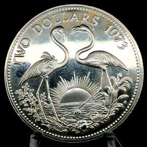 1973 BAHAMAS  .925 SILVER PROOF 2 DOLLARS FLAMINGOS KM#23.