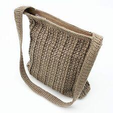 The SAK Tan/Beige Crocheted Knit & Nylon Zip Top Shoulder Bag Handbag Hobo Purse