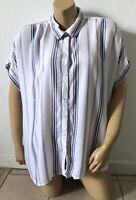 BEACH LUNCH LOUNGE Womens Size XL Striped Short Sleeve Button Front Shirt