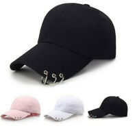 Cool Adjustable Baseball Hat with rings Outdoor Sports Sun Cap for Men Women