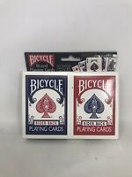 2 Decks Bicycle Rider Back 808 Standard Poker Playing Cards Red & Blue NEW Seal
