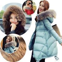 Warm Women's Winter Thicken Fur Collar Long Duck Down Jacket Coat Parka Hooded