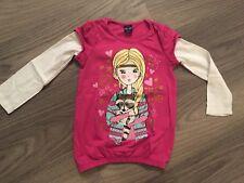 KIKI & KOKO Shirt Langarm Pulli Pullover pink mit weiß Gr. 110 - TOP -