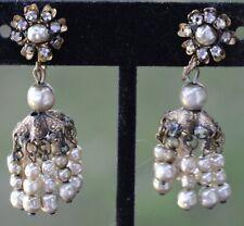 Antique Miriam Haskell Rhinestone Baroque Pearl Flower Dangle Clip On Earrings