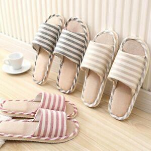 Women Men Anti-slip Cotton Linen Shoes Home Indoor Open Toe Flat Slippers Soft