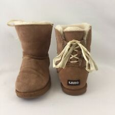 Lam Big Girls Brown Suede Boots Faux Fur Lining Lace Up Detail Sz 5Y