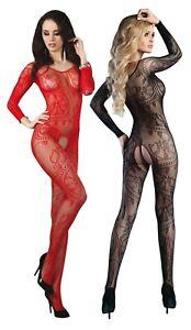 Sexy Body Stocking Catsuit Dessous Reizwäsche Schritt offen Nylon S M L XL XXL