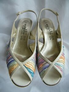 Occasion Shoes 7 Multicolour Fabric Italian Leather Designer Vintage Wedding Hee