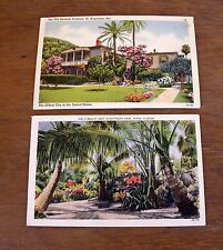 2 VTG 1940 Linen Postcards St Augustine & Miami FL to Clara Beck Norborne MO