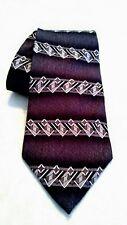 """Picone mens neck tie 100% Silk black silver purple 58"""" × 4"""" made in USA"""