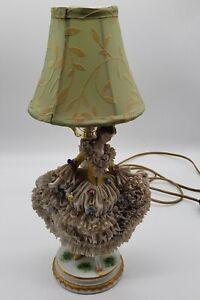 Antique Muller Volkstedt Dresden Porcelain Lace Figural Table Lamp