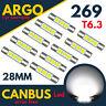 28mm 269 T6.3 Led Xenon White Car Bulbs Sun Visor Vanity Light Lamp Fuse Festoon