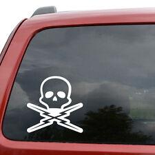 "Death Proof Skull Car Window Decor Vinyl Decal Sticker- 6"" Tall White"