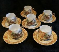 Geisha Girl Floral Eggshell Set Of 6 Tea Cups And Saucers