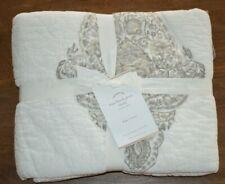Pottery Barn Mya Block Print King Pillow Sham White Gray New Quilted Neutral