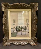 VINTAGE SCULPTED WOOD PHOTO PICTURE FRAME GLASS CARVED TRAY WALL HANGING FRENCH