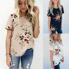 Women Floral Blouse Summer Short Sleeve Shirt Ladies Boho Loose T-Shirt Tops Tee